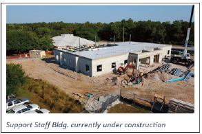 picture shows the administration building under construction